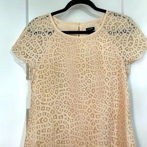 J. Crew Women's Cream Lace Short Sleeve Blouse 0